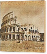 Colosseum Grunge Wood Print