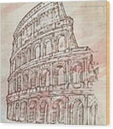 Colosseum Hand Draw Wood Print