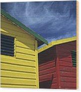 Coloured Beach Huts Wood Print