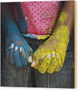 Coloured Hands Wood Print by Tim Gainey