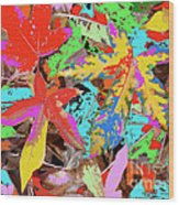 Coloured Leaves By M.l.d. Moerings  2009 Wood Print