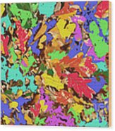 Coloured Oak Leaves By M.l.d. Moerings 2009 Wood Print