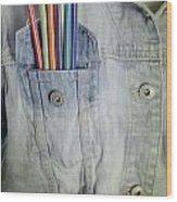 Coloured Pencils Wood Print by Joana Kruse