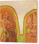 Coloured Reliefs Wood Print