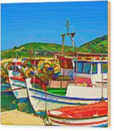 Colourful Boats Wood Print