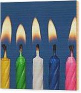 Colourful Candles Lit Wood Print