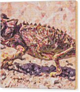 Colourful Chameleon Wood Print