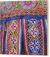 Colourful Fabric Art Wood Print