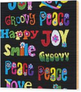 Colourful Words Wood Print