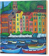 Colours Of Portofino Wood Print by Lisa  Lorenz