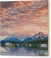 Colter Bay Sunset Wood Print