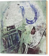 Colts Player Helmet Abstract Wood Print