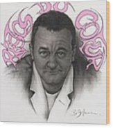 Coluche Wood Print by Guillaume Bruno