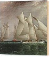 Columbia Leading Dauntless In The Hurricane Cup Race Wood Print