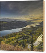 Columbia River Gorge At Sunrise Wood Print