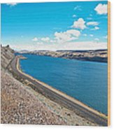 Columbia River Rolls On Between Oregon And Washington  Wood Print