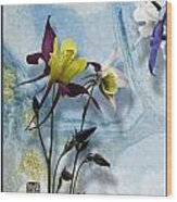 Columbine Blossom With Suminagashi Ink Wood Print