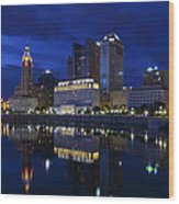 Columbus City At Twlight Wood Print by Dick Wood