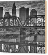 Columbus Ohio Downtown Bw Wood Print