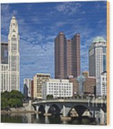 Columbus Ohio Skyline From Scioto River Wood Print
