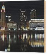 Columbus Skyline At Night Wood Print
