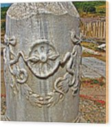 Column Along Sacred Road In Pergamum-turkey  Wood Print