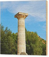 Column At The Temple Of Hera Olympia Greece Wood Print