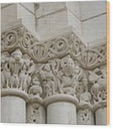 Column Relief Abbey Fontevraud  Wood Print