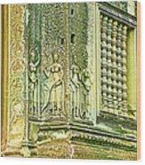Columns And Hindu Devatas At Angkor Wat In Angkor Wat Archeological Park Near Siem Reap-cambodia Wood Print