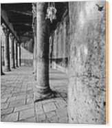 Columns At The Church Of Nativity Black And White Vertical Wood Print
