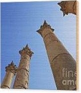 Columns At The Temple Of Artemis At Jerash Jordan Wood Print by Robert Preston