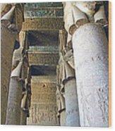 Columns In Temple Of Hathor Near Dendera In Qena-egypt Wood Print