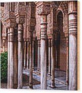 Columns Of The Court Of The Lions Wood Print