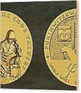 Comanche Nation Tribe Code Talkers Bronze Medal Art  Wood Print