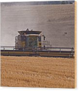 Combine Harvester And Cows Wood Print