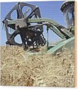 Combine Harvester  Wood Print by Shay Fogelman