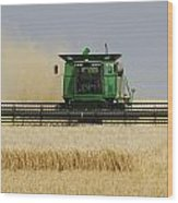 Combine Working A Field On The Wood Print