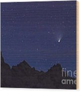 Comet Pan-starrs Over Tetons Wood Print