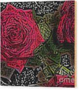 Comic Book Roses Wood Print