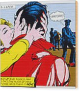 Comic Strip Kiss Wood Print