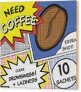 Comic Stripes Of Coffee Drink Wood Print