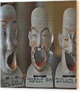 Comical Singing Ashtrays Wood Print