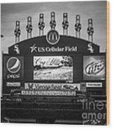 Comiskey Park U.s. Cellular Field Scoreboard In Chicago Wood Print