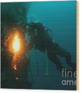 Commercial Diver At Work Wood Print