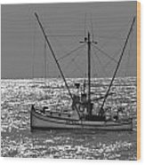 Commercial Fishing Boat Dickey Byrd Out Of Half Moon Bay Wood Print