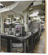 Commercial Kitchen Aboard Battleship Wood Print