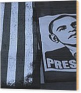 Commercialization Of The President Of The United States In Cyan Wood Print