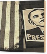 Commercialization Of The President Of The United States In Sepia Wood Print by Rob Hans