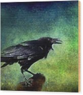 Common Raven Wood Print