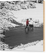 Companions Walking On Christmas Morning Wood Print
